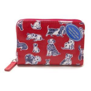 キャスキッドソン 二つ折り財布 ミニ財布 レディース CathKidston 犬柄 ドッグ柄 レッド vol8