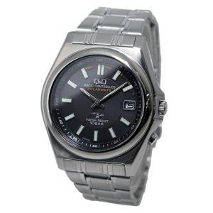 シチズン 腕時計 メンズ Q&Q CITIZEN 電波 ソーラー ブラック/シルバー vol8