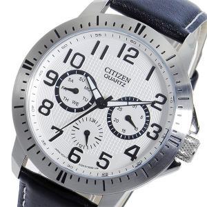 シチズン 腕時計 メンズ CITIZEN レザー ホワイト/ブラック|vol8
