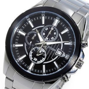 シチズン 腕時計 メンズ CITIZEN クロノグラフ ブラック/シルバー|vol8