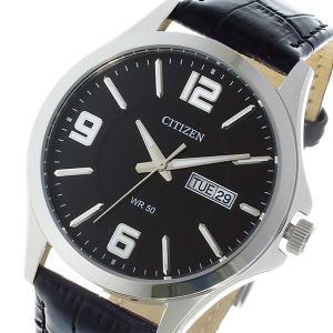 シチズン 腕時計 メンズ CITIZEN レザー ブラック|vol8