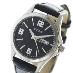シチズン 腕時計 レディース CITIZEN レザー ブラック|vol8