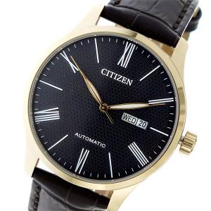 シチズン 腕時計 メンズ CITIZEN 自動巻き レザー ブラック/ブラウン/ゴールド|vol8