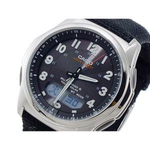 カシオ 腕時計 メンズ ウェーブセプター WAVE CEPTOR CASIO レザー ブラック|vol8