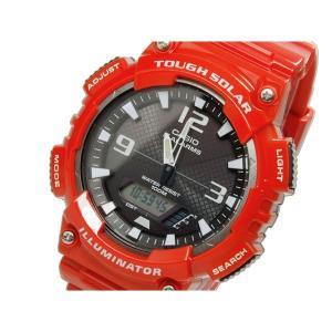 カシオ 腕時計 メンズ スタンダード CASIO デジタル ソーラー 100m防水 グレー/レッド|vol8