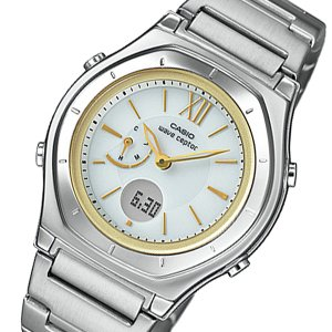 カシオ 腕時計 レディース ウェーブセプター WAVE CEPTOR CASIO ゴールド×グレー|vol8