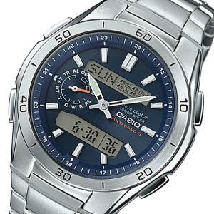 カシオ 腕時計 メンズ ウェーブセプター WAVE CEPTOR CASIO 電波 ネイビー|vol8
