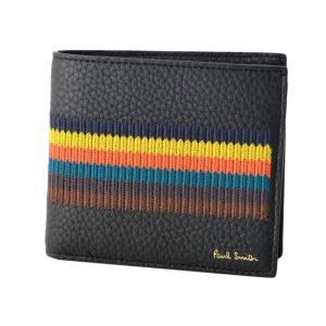 ポールスミス 二つ折り財布 メンズ PaulSmith レザー ブラック/マルチストライプ|vol8