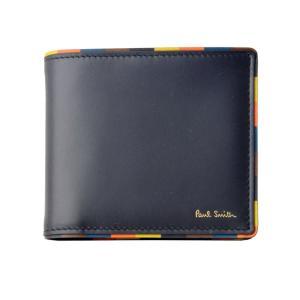 b639830ebf4a ポールスミス 二つ折り財布 メンズ PaulSmith レザー ネイビー/マルチストライプ