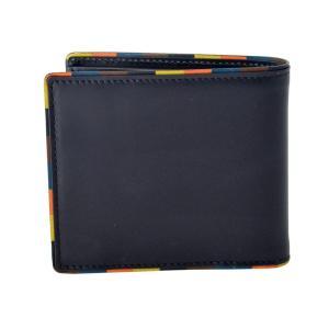 ポールスミス 二つ折り財布 メンズ PaulSmith レザー ネイビー/マルチストライプ|vol8|02