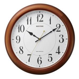 リズム 掛け時計 かけ時計 メンズ&レディース RHYTHM 電波 茶色半艶仕上|vol8