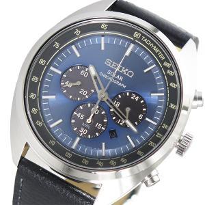 セイコー 腕時計 メンズ SEIKO クロノグラフ レザー ソーラー ブルー|vol8