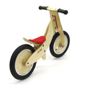 ドイツ製 木製 子供用自転車 ライクアバイク マウンテン mini(赤のサドルカバー)|volksmarkt