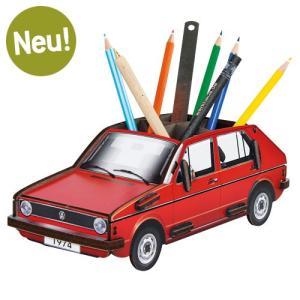ヴェルクハウス 木製ペンたて 【VW ゴルフ1 赤】|volksmarkt