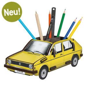ヴェルクハウス 木製ペンたて 【VW ゴルフ1 黄】|volksmarkt