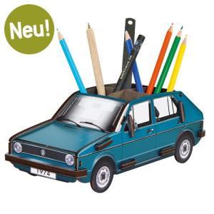 ヴェルクハウス 木製ペンたて 【VW ゴルフ1 青】|volksmarkt