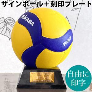 ミカサ(MIKASA) サインボール バレーボール 金色 V030W 置き台とプレート付 記念品