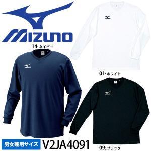 【1枚までメール便OK】ミズノ(mizuno) プラクティスシャツ(長袖) バレーボールウェア練習着/V2JA4091/男女兼用サイズ volleyballassist