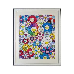 村上隆 天国への階段から見えるお花畑 絵画 額付 版画 リトグラフ