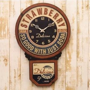 レトロ レジェクション カフェ クロック STRAWBERRY 壁掛け時計 インテリア アメリカンア...