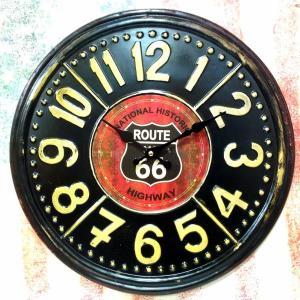 ヴィンテージ風 Tin ウォール クロック ルート66 ブラック 掛け時計 時計 インテリア 世田谷...