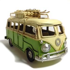 本物そっくり!? ブリキで出来たワーゲンバスのミニチュアビンテージカー☆  年代物の車やクラシックカ...