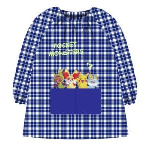 エプロン ポケットモンスター サロンジェ 46814-011 ポケモン ピカチュウ×チェックスモック ブルー 子供用 100cm|vsbigfield
