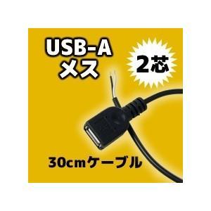 USB A(メス)コネクタ付きケーブル(30cm) 2芯 送料216円・ポスト投函 (商品番号2179-0501)|vshopu-2
