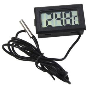 デジタル温度計(外部センサー式) ブラック  小型温度計 電子工作|vshopu