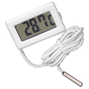 デジタル温度計(外部センサー式) ホワイト 小型温度計 電子工作|vshopu