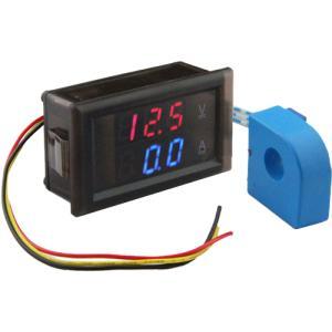 デジタル電圧計&電流計 DC 100V 50A 赤V&青A 電流センサー付き 双方向電流計 電子工作|vshopu