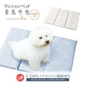 ペットマット 犬 猫 ワンニャンベッド お部屋用 中 羊まくら 素肌呼吸 ペット用ベッド 敷布団 マット 羊毛 トウモロコシ繊維 自然素材100% WOOL BOARD 日本製 vt-web