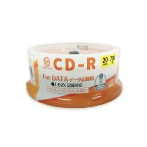 CD-R データ用 20枚 スピンドルケース ホワイトプリンタブル インクジェット対応 CDRD700MB.20S VERTEXヴァーテックス|vt-web