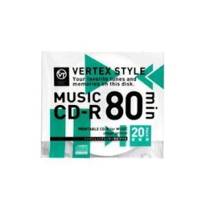 CD-R 音楽用 80分 20枚スリムケース ホワイトプリンタブル インクジェット対応 20CDRA80VX.WP VERTEXヴァーテックス|vt-web