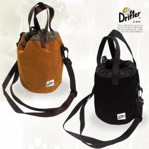 ドリフター バッグ NEW 新色入荷 スウェード 2色 DRIFTER ショルダーバッグ ブラック ブラウン ドローストリングポーチ|vt-web
