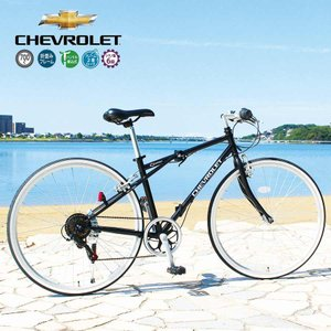 自転車 折り畳み 折りたたみ CHEVROLET シボレー 軽量 700c(約26インチ) おしゃれ 6段変速 ブラック Black スチール製 メーカー直送 ミムゴ MG-CV7006G|vt-web