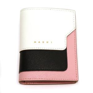 20AW MARNI VITELLO SAFFIANO BILLFOLD マルニ レディース サフィアーノ レザー ミニ ウォレット 二つ折り 財布 ピンク ホワイト|W-CLASS