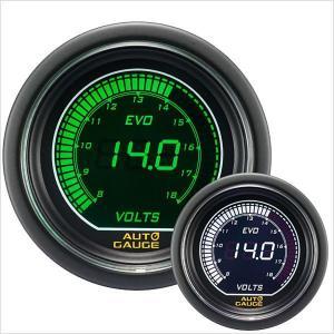 電圧計 オートゲージ EVO 52Φ デジタル 緑 白 612 精度誤差約±1%の正確な追加メーター (クーポン配布中) w-class