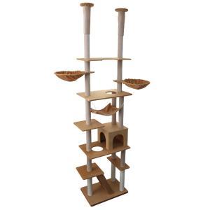 キャットタワー 突っ張り型 大型 240cm〜260cm ハンモック 隠れ家 ツインタワー 猫タワー...