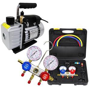 クーラーのメンテ 修理  エアコンガスチャージ マニホールドゲージ 真空ポンプ セットでお得 R134a R22 R410a R404a 対応