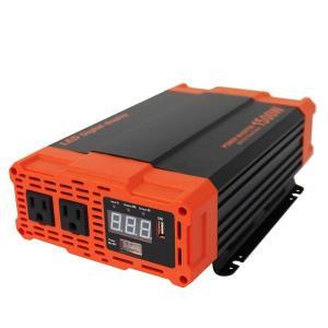 インバーター バッテリー ポータブル電源 防災 非常用電源 車中泊 アウトドア 1500W DC12V / AC100V  疑似正弦波 矩形波 USBポート付 トラック|w-class