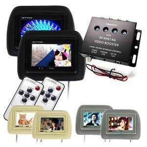 在庫限り ヘッドレストモニター 7インチ 左右2個セット 2台 レザー 後部座席 映像分配器付き LED カーモニター リアモニター 車載用 12V 映画 DVD TV|w-class
