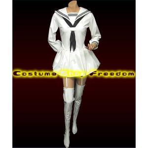 制服 セーラー服 コスプレ衣装 コスチューム 女王様エナメル長袖セーラー(4Lサイズ) マイクロミニ ミニスカ セクシー|w-freedom