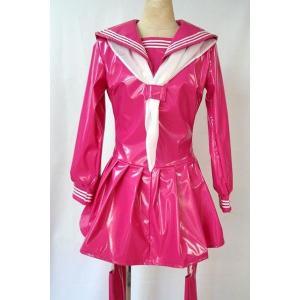 制服 セーラー服 コスプレ衣装 コスチューム 女王様エナメル長袖セーラー マイクロミニ ミニスカ セクシー|w-freedom