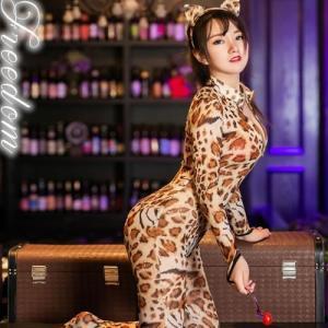セール sale レオタード セクシー パーティー コスプレ コスチューム 衣装 全身女豹!豹柄ボディストッキングバニーガールコスチューム|w-freedom