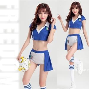 セール sale チアリーダー サッカーコス コスプレ 衣装 セクシーコス へそ出しスタイルのキュートセクシーなサッカーチアガールコスチューム|w-freedom