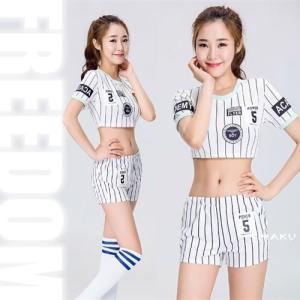 セール sale チアリーダー サッカーコス コスプレ 衣装 セクシーコス ストライプ柄へそ出しスタイルのなりきりチアガールコスチューム|w-freedom