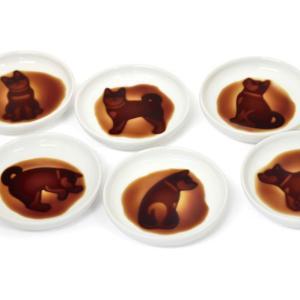 イヌ醤油皿《6枚セット》※お醤油でかわいいしぐさのワンちゃんが浮かび上がる小皿|w-garage