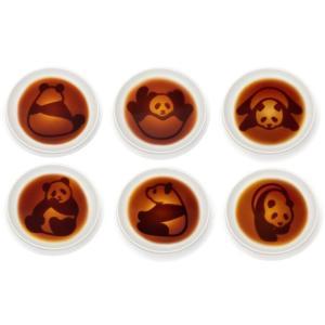 パンダ醤油皿《6枚セット》※お醤油でかわいいパンダのしぐさの浮かび上がる小皿|w-garage