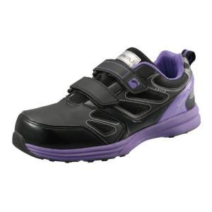 安全靴 作業靴 セーフティシューズ LS418 ブラック/バイオレット 24.0〜27.0・28.0・29.0cm(EEE) LSシリーズ 短靴 シモン(Simon) お取寄せ|w-shokai
